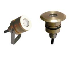 Mini projecteurs 1 LED en bronze imlmergeable sur lyre et à encastrer